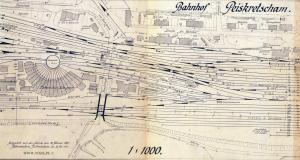 Widok na fragment niemieckiej mapy przedstawiającej kompleks parowozowni w Pyskowicach, wówczas jeszcze niemieckich Peiskretscham w 1941 roku. Uwagę zwraca krótsza lewa strona wachlarza parowozowni, jeszcze przed rozbudową (wydłużeniem stanowisk).