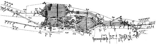 Plan sytuacyjny stacji i lokomotywowni II klasy Pyskowice około 1970 roku. Plan odzwierciedla obszar długości około 5km.