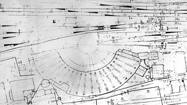 Fragment mapy z widokiem na już rozbudowaną parowozownię.