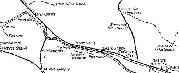 Mapka przedstawiająca połączenia kolejowe PKP i PMPPW z około 1976 roku.