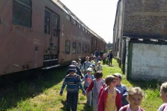 Przedszkolaki wchodzące na teren skansenu