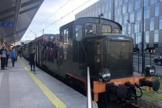 SM30-211 z zaprzyjaźnionego skansenu Chabówka a za nią sznur pozostałych lokomotyw